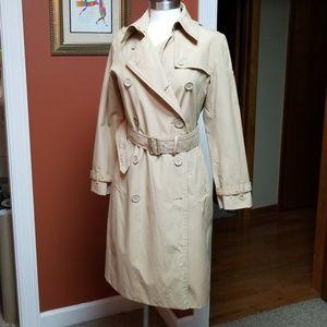 Norma Kamali tan trench raincoat